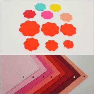 """Фетровые пяточки круглые """"волна"""" 40мм, цвет № 03 ярко-розовый (1уп = 147шт)"""