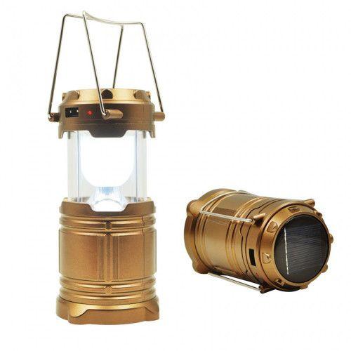 Складной кемпинговый фонарь 3 в 1, 17 см: цвет - золотой.