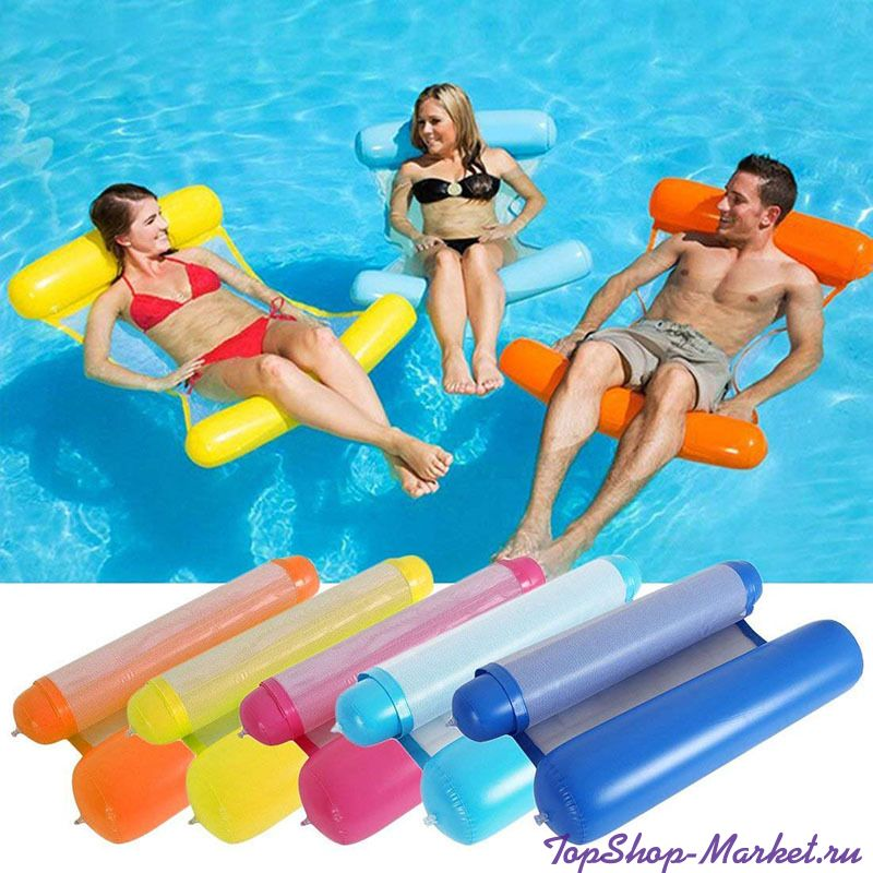 Надувной шезлонг для плавания Floating Bed, 130х73 см, Цвет: Голубой
