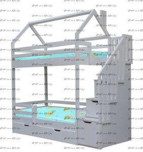 Кровать-домик двухъярусная Домик №В