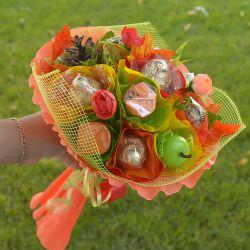 """Букет с конфетами для учителей №722 """"Золотая пора"""""""