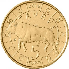 Знак Зодиака Телец  5 евро Cан-Марино 2018