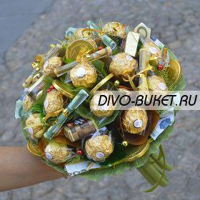 """Букет из денег и конфет №667 """"Блеск"""""""