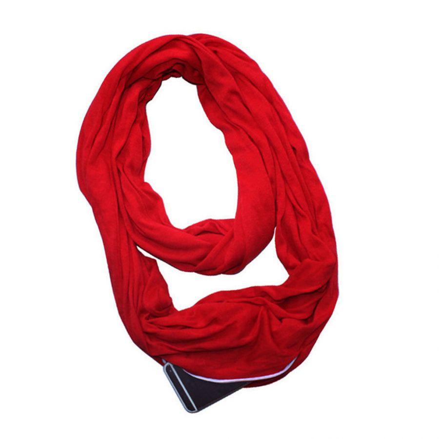 Бесконечный шарф (снуд) с потайным карманом на молнии