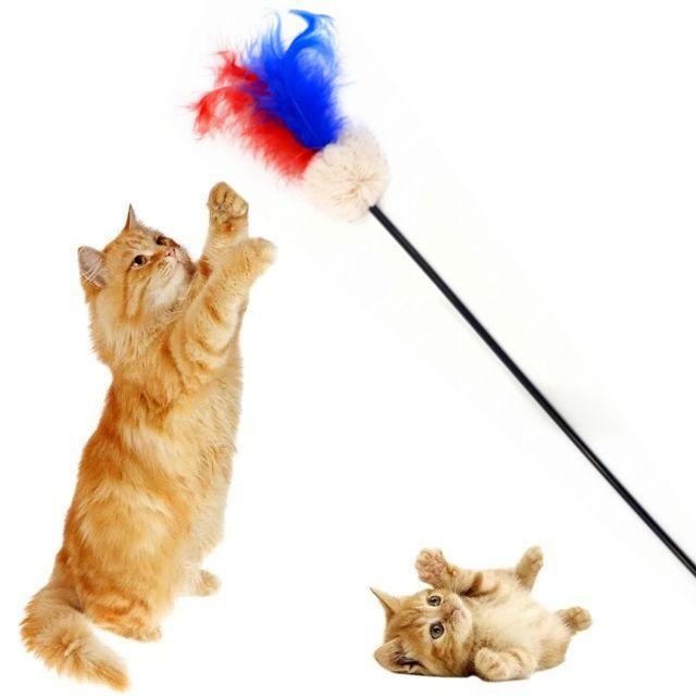 Игрушка для кошек Дразнилка с перьями и помпоном, 52 см