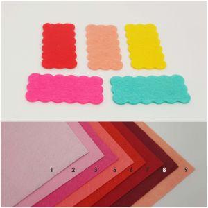 """Фетровые пяточки прямоугольные """"волна"""" 45*90мм, цвет № 03 ярко-розовый (1уп = 54шт)"""