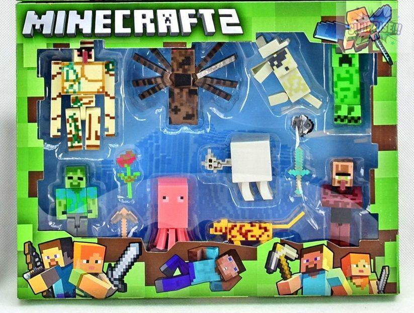 Minecraft набор 4 фигурки героев + 6 животных и аксессуары