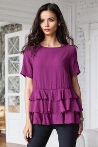 ДИСКОНТ VILATTE D29.482 Блузка женская темно-ягодный