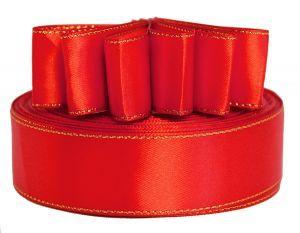 `Лента атласная с металлизированной кромкой, ширина 25 мм, цвет: 3095