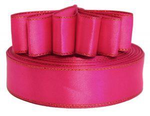 `Лента атласная с металлизированной кромкой, ширина 25 мм, цвет: 3081