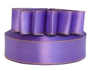 `Лента атласная с металлизированной кромкой, ширина 25 мм, цвет: 3119