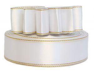 `Лента атласная с металлизированной кромкой, ширина 25 мм, цвет: белый