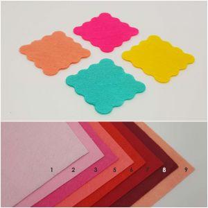 """Фетровые пяточки квадратные """"волна"""" 25мм, цвет № 03 ярко-розовый (1уп = 363шт)"""