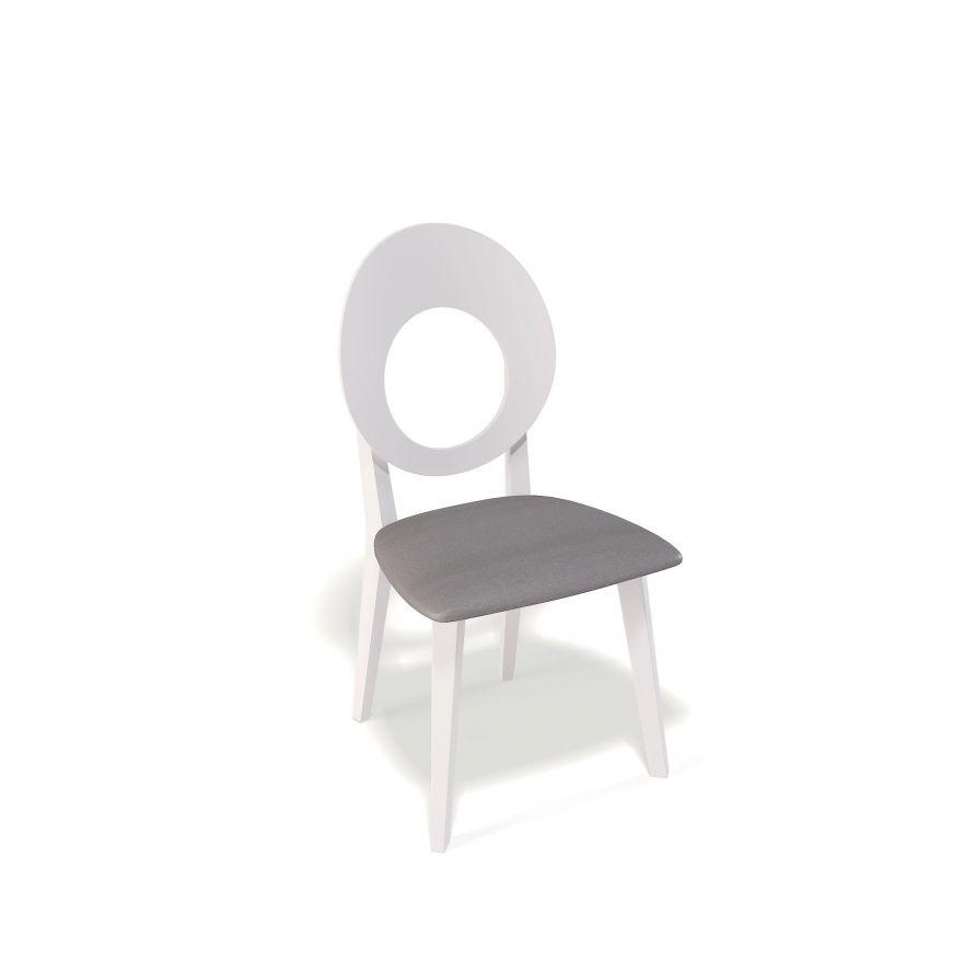 Деревянный стул KENNER 115М, с мягким сиденьем, белый - серый