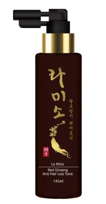 Тоник для волос La miso с экстрактом красного женьшеня,от выпадения 145 мл.