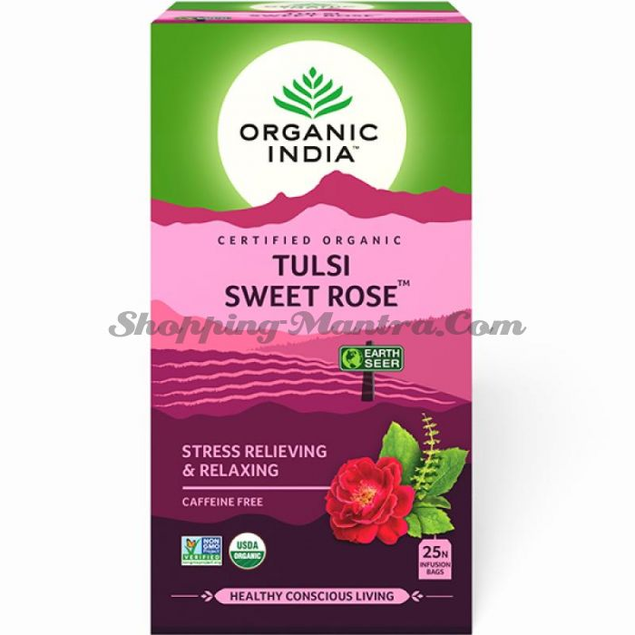Чай Тулси Сладкая Роза Органик Индия / Organic India Tulsi Sweet Rose Tea