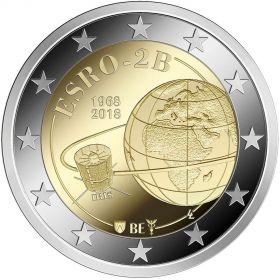 50-летие запуска первого европейского спутника ESRO 2B 2 евро Бельгия2018 (BU coincard)