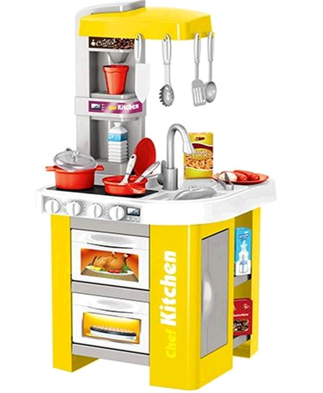 922-49A Детская игровая кухня с водой 49 аксессуаров, высота 72 см. желтая Bambi