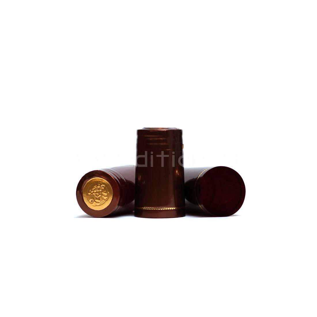 Термоусадочные колпачки, 40 шт (коричневый металлик, на бутылку Виски 1 л)