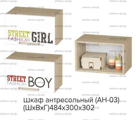 Шкаф антресольный Сенди Street Boy / Street Girl АН-03 BTS (484х302х300)