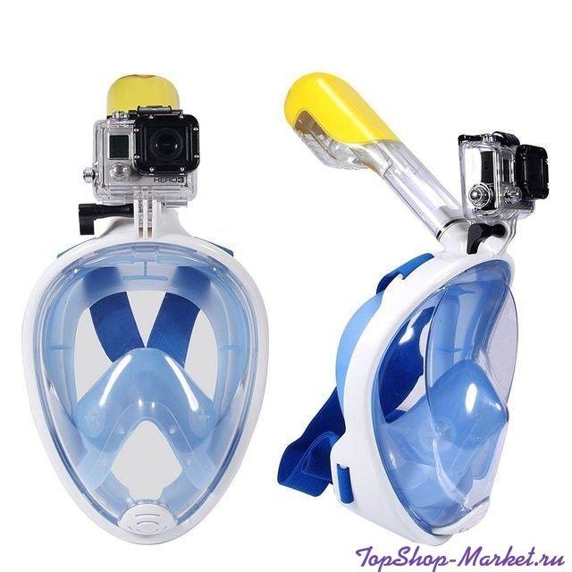 Маска для снорклинга с креплением для экшн-камеры Freebreath, Цвет: Голубой, S/M