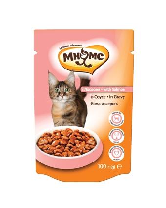 Пауч Мнямс для кошек Кожа и шерсть с лососем в соусе