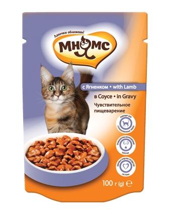 Пауч Мнямс для кошек Чувствительное пищеварение с ягненком в соусе