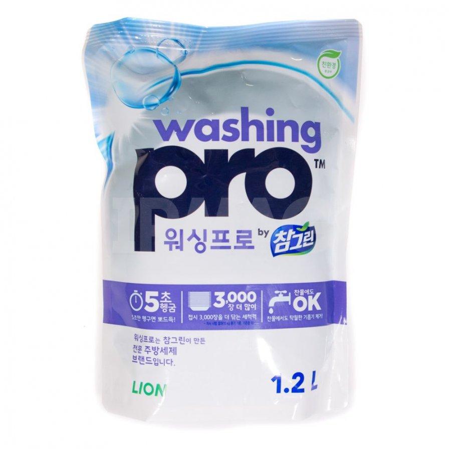 CJ Lion Средство для мытья посуды Washing Pro, мягкая упаковка, 1200 мл