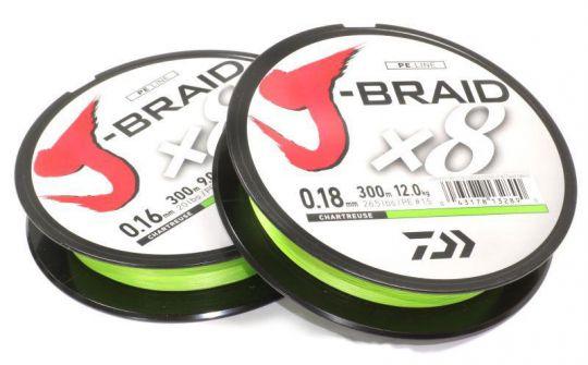 Шнур плетеный DAIWA J-Braid X8 150 м флюо-зеленый