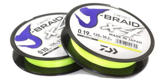 Шнур плетеный DAIWA J-Braid X4 135 м флюо-зеленый