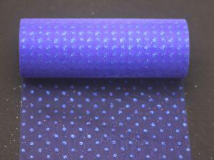 Фатин с люрексом, средняя жесткость, ширина 15 см, бобина 10 ярдов, цвет: Q15 синий