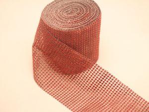 """`Лента декоративная """"имитация страз"""", ширина 12 см, цвет: красный"""