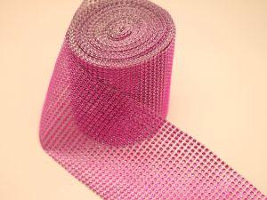 """`Лента декоративная """"имитация страз"""", ширина 12 см, цвет: ярко-розовый"""