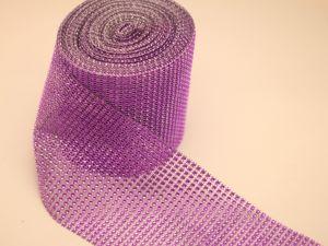 "`Лента декоративная ""имитация страз"", ширина 12 см, цвет: фиолетовый"