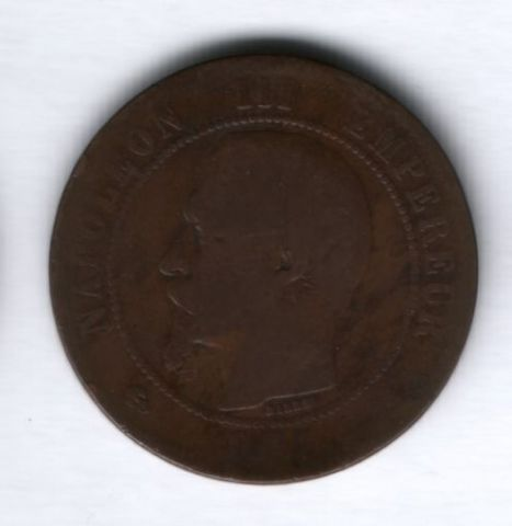 10 сантимов 1857 года B Франция, редкий год