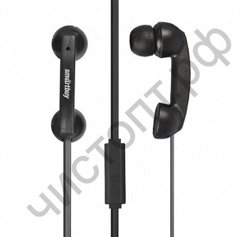 Гарнитура (науш.+микр.) для сотов. SmartBuy HELLO, черная вакуум (SBH-200) стиль телефонной трубки
