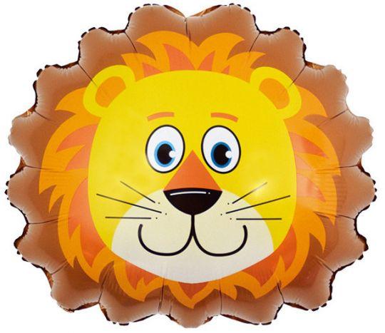 Голова льва шар фольгированный на палочке с воздухом