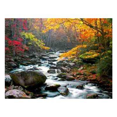 Роспись по холсту Река в осеннем лесу 30х40см
