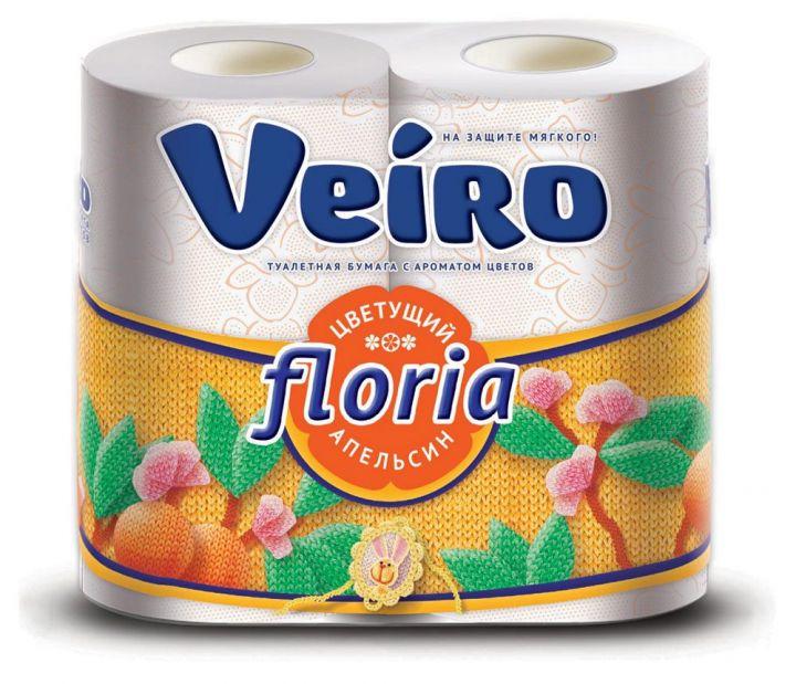 Туалетная бумага Linia Veiro Floria 2-сл 4 шт аромо/Цветущий апельсин