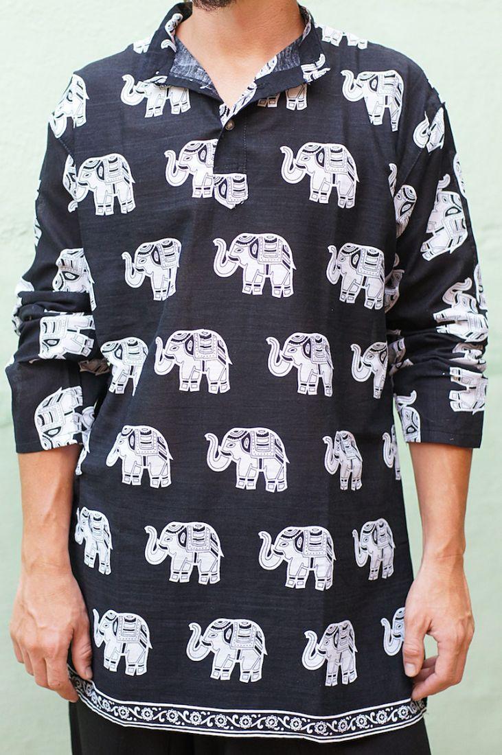 Унисекс! Индийские курты со слонами, разные цвета (отправка из Индии)