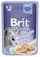 Brit Premium Pouch Для кошек 85гр Кусочки  филе лосося в желе
