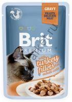Brit Premium Pouch Для кошек 85гр Кусочки  филе индейки в соусе