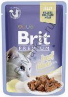 Brit Premium Pouch Для кошек 85гр Кусочки  филе говядины в желе