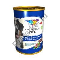 Счастливый пес-Мясное ассорти с потрошками консервы для собак (Елец) - 0,97 кг