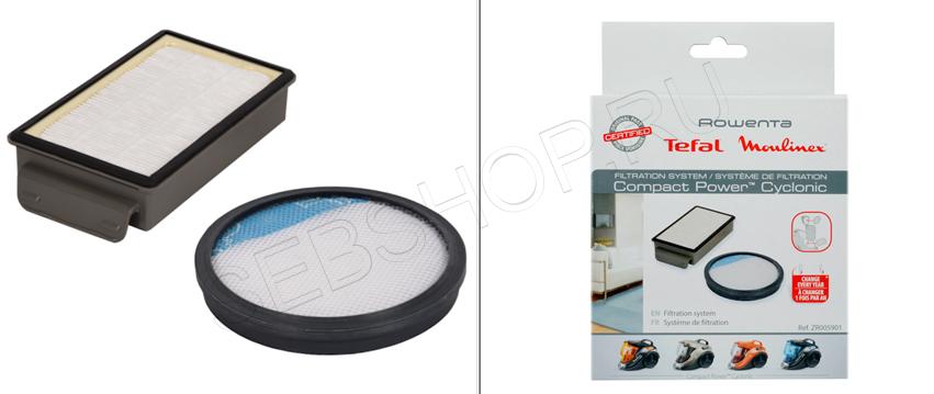 HEPA  фильтр + круглый фильтр в пылесборник к пылесосам TEFAL серии COMPACT POWER CYCLONIC. Артикул ZR005901