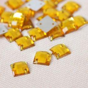 Стразы пришивные, 8*8мм, 50шт, квадратные, цвет жёлтый