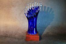 Кубок спортивный из стекла синий 27 см