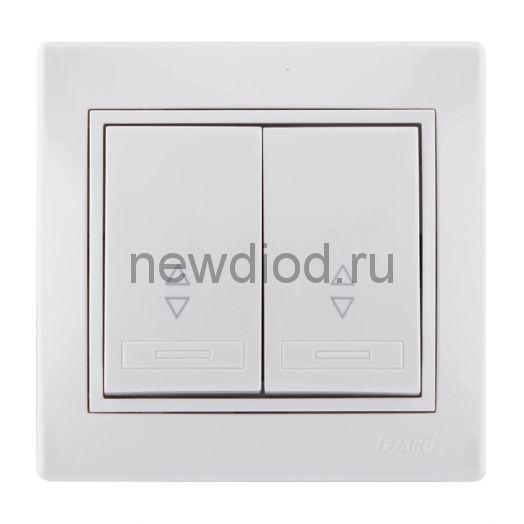 MIRA Выключатель проходной двойной белый с белой вставкой Lezard