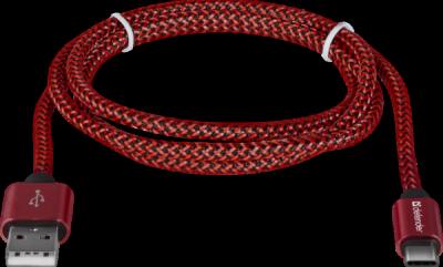 НОВИНКА. USB кабель USB09-03T PRO USB2.0 Красный, AM-Type-C, 1m, 2.1A