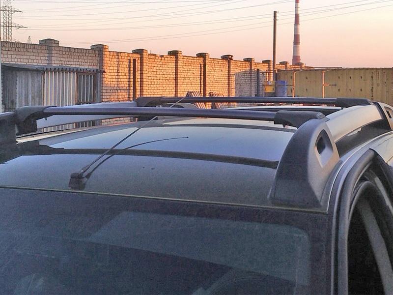 Багажник на рейлинги Renault Duster 2 (2015-...), FicoPro R-043, черный, крыловидные аэродуги